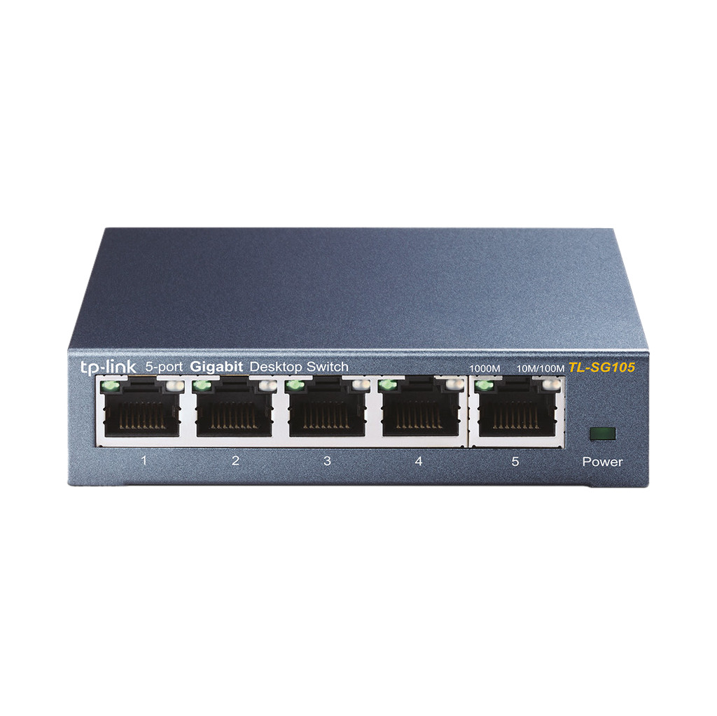 De TP-Link TL-SG105 is een switch met 5 netwerkpoorten met een maximale snelheid van 1 Gbps. De switch is plug and play