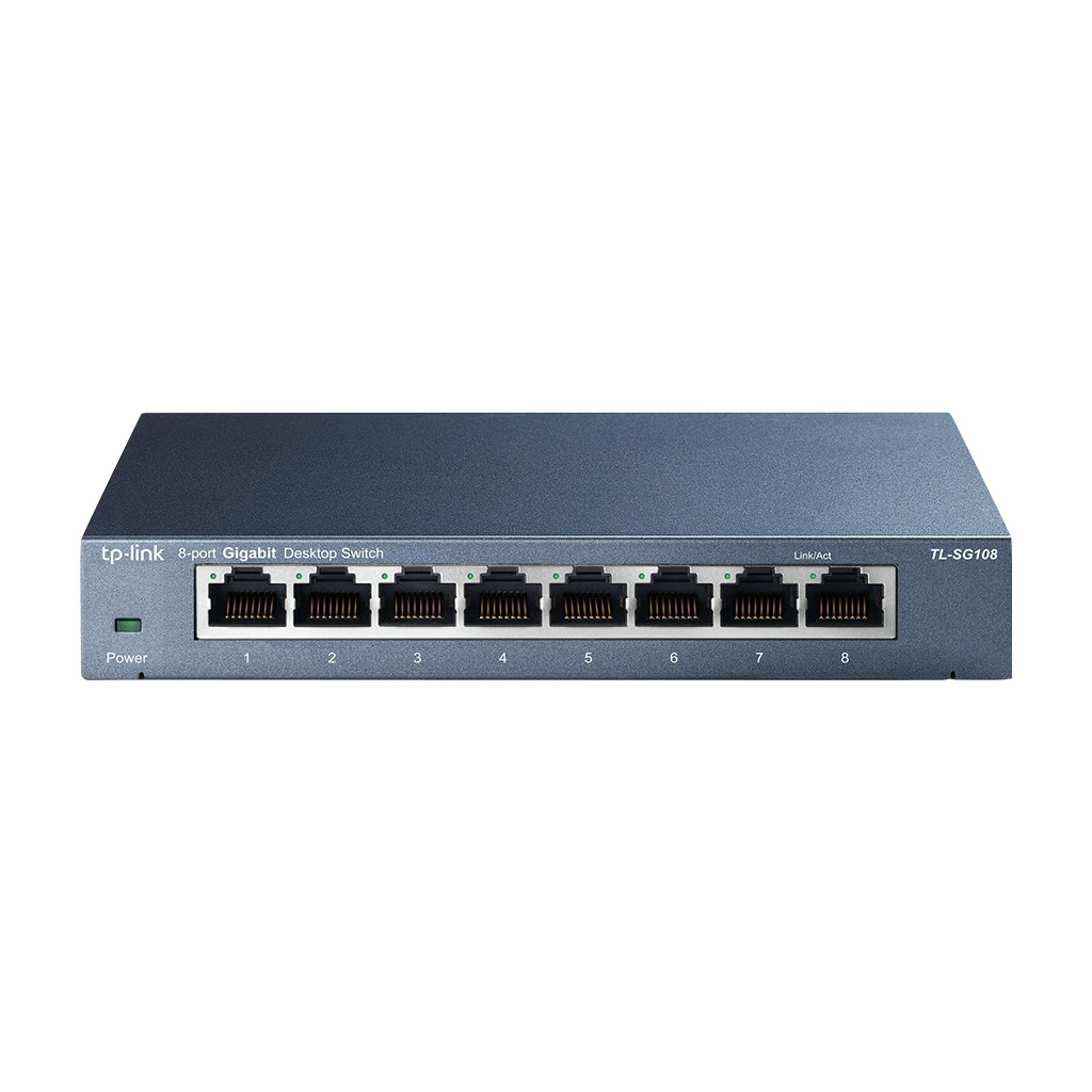 De TP-Link TL-SG108 is een switch met 8 netwerkpoorten met een maximale snelheid van 1 Gbps. De switch is plug and play