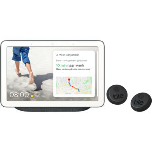 Google Nest Hub Charcoal + Tile Sticker Duo Pack