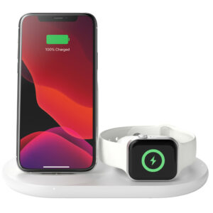 Belkin 3-in-1 Draadloze Oplader 7,5W met Standaard en AirPods Dock + Apple Watch Stand Wit