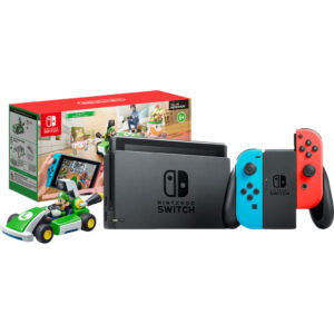 Nintendo Switch (2019 Upgrade) Rood/Blauw + Mario Kart Live: Home Circuit – Luigi Set